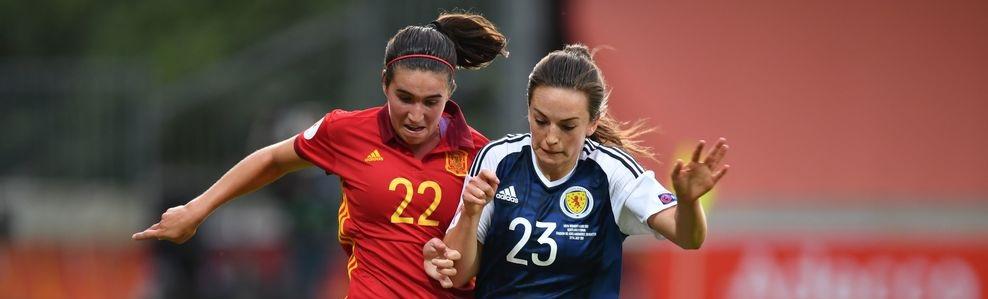 Spanien och Skottlands damlandslag i fotboll