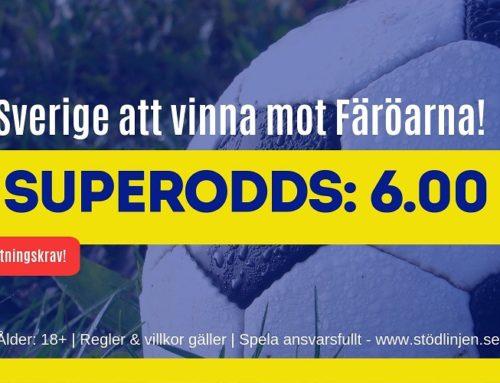 Superodds 5/9 (EM-kval): 6 i odds på Sverige eller 100 på Färöarna