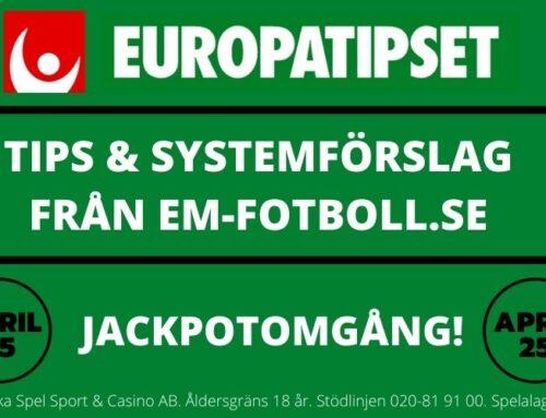 Europatipset söndag 25/4 – Tips & Systemförslag – 96 & 864 rader