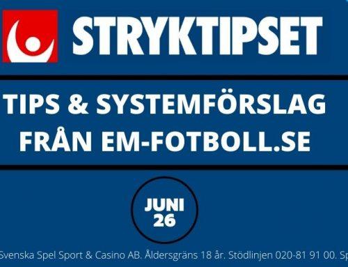 Stryktipset söndag 27/6 – Tips & Systemförslag – 96 & 864 rader