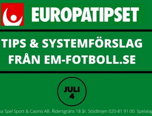 Europatipset söndag 4/7 – Tips & Systemförslag – 96 & 864 rader